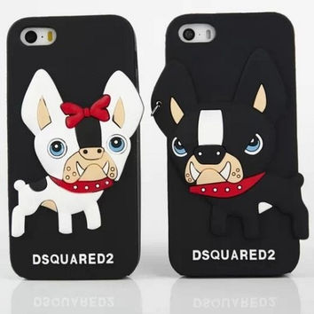 3D New Arrival Cute Cartoon Lovely Dsquare Couple Dog Bulldog Soft Silicon Case Cover For Iphone5 6 6s 6s plus 6 Plus 4.7 5.5