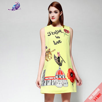 Runway Designer Summer Mini Dress Women' High Quality Gold Sequin Appliques Beading Character Pattern Tank Casual Dress Free DHL