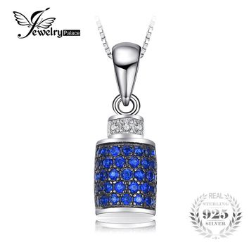 JewelryPalace Lock Wraparound 0.2 ct Created Blue Spinel Pendants For Women 925 Sterling Silver Fine Jewelry Not Include a Chain
