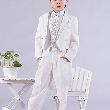 Six Pieces White And Silver Swallow-tail Ring Bearer Suit