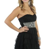 beaded strapless short homecoming dress with ruffles and tiered skirt
