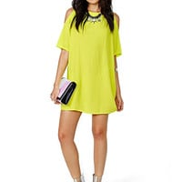 Yellow Off Shoulder Chiffon Dress