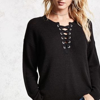 Lace-Up Purl Sweater