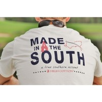 """Made in the South"" Pocket Tee in White by High Cotton"