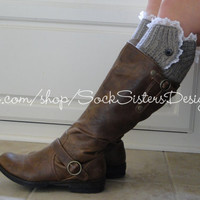 Button Down Boot Cuff WITH LACE for Women & by SockSistersDesigns