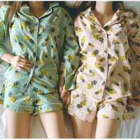 New 2017 Pajama Sets Women Pineapple Print 3 Pieces Set Long Sleeve Top + Shorts Elastic Waist + Blinder Loose S61201