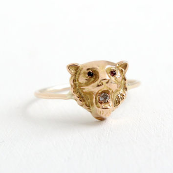 Antique Art Deco 10k Yellow Gold Lion Ring- Vintage 1920s Size 7 1/2 Roaring Cat Diamond & Ruby Red Glass Fine Jewelry