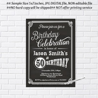 Surprise Birthday Invitation for any age, 18th 20th 30th 40th 50th 60th 70th 80th 90th Retro birthday party invite, chalkboard - card 523