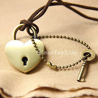 Christmas Gift, Love Locks Necklace, Concentric Lock, Love Locks Pendant, Love Locks Jewelry, Love Key, Lariat Necklace, Woodland Jewelry