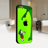 The Giving Tree Blue Apple Black - For IPhone 4 or 4S Black Case Cover