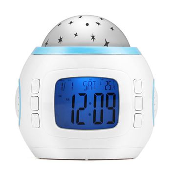 Projecting Clock Color Gradual Change Star Music Alarm Clock with Backlight for Kids Room Night Light