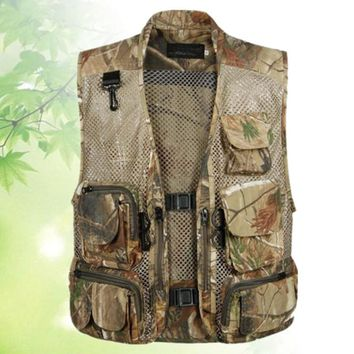 Sleeveless Jacket Men Military Tactical Vest SWAT Quick Dry Jacket Hunter Fisherman Jungle Camo Clothes Mesh Vest Waistcoat