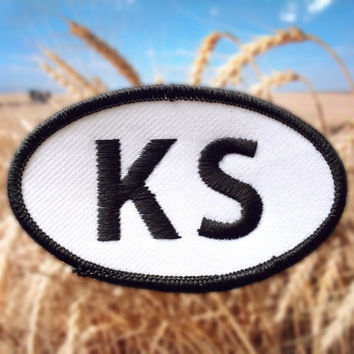 "Kansas KS Patch - Iron or Sew On - 2"" x 3.5"" - Embroidered Oval Applique - Sunflower State - Black White - Hat Bag Accessory - Handmade USA"
