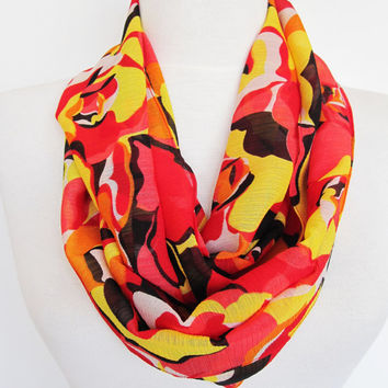 Colorful Chiffon Infinity Scarf, Circle Scarf, Gift For Mother, Multicolor Infinity Scarf