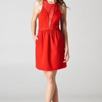 Cocktail Hour Lace Yoke Peek-a-Boo Pocketed Sleeveless Dress in Red | Sincerely Sweet Boutique