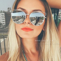 Luxury brand sunglasses for women uv400 protection vintage cat eye sunglasses women brand designer metal frame sun glasses