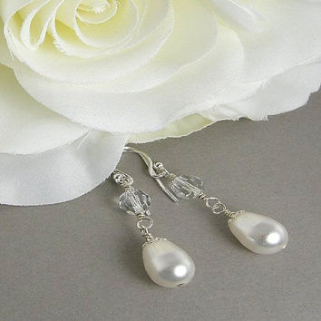 White Pearl Teardrop and Crystal Bridal Earrings