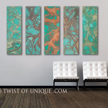 Oxidized Watercolor Abstract Painting, CUSTOM 5 panel  (40 Inch x 15 Inch) Abstract Wall art, - Oxidized green, Copper, metal