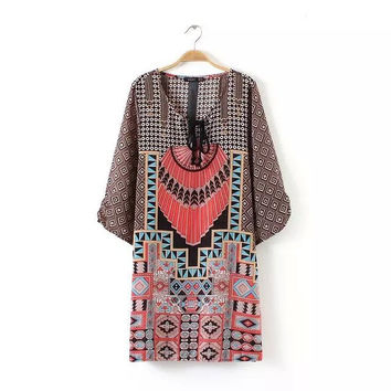 Summer Women's Fashion Round-neck Three-quarter Sleeve Print Pullover One Piece Dress [5013280132]