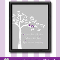 purple and grey baby girl nursery birds in a tree kids wall art girls room decor baby girl artwork gift for new parents love birds baby gift