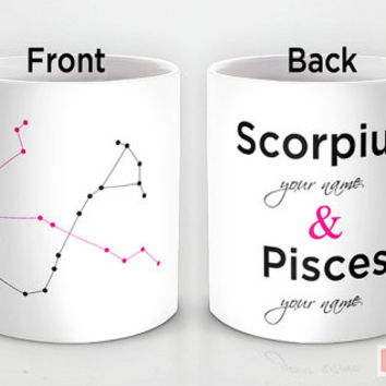Personalized mug cup designed PinkMugNY - Scorpius & Pisces - Zodiac Constellation - Couples Mugs