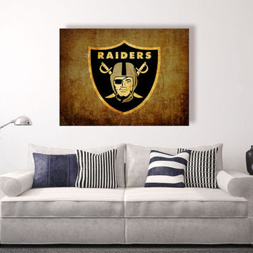 Oakland Raiders vintage style Canvas Print, Wall Art, Wall Decor, Vintage, Grunge