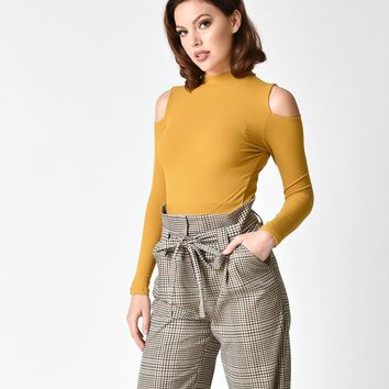 Mustard Yellow Knit Cold Shoulder Long Sleeve Top