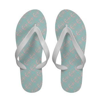 Cute Pink Anchors on Blue, Nautical Flip Flops from Zazzle.com