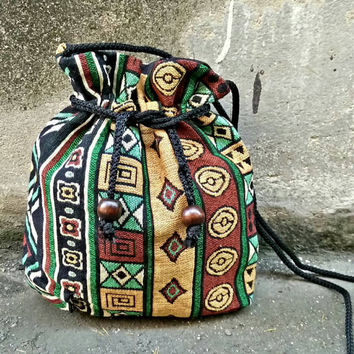 Boho bags aztec Cross body drawstring Festival Purse Boho chic pattern Hippies Folk Styles Phone Case Pouch Bohemian Shoulder bag Ethnic