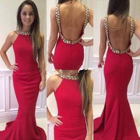 Mermaid Prom Dresses 2015 Long Crystal Beads Backless Floor Length vestidos de fiesta 2016 Formal Evening Gown Dresses