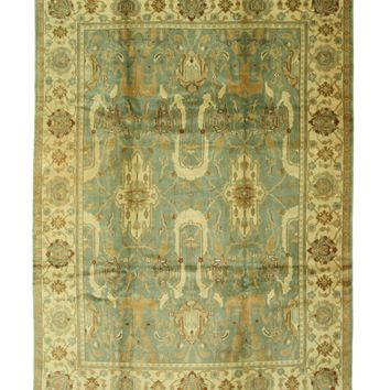 EORC Hand-knotted Wool Green Traditional Geometric Ziegler Rug