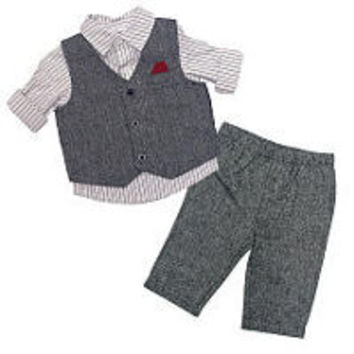 Koala Baby Boutique Boys 3 Piece Striped Button Down Shirt, Grey Vest and Pant Set