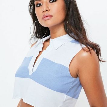 Missguided - Blue Striped Sleeveless Rugby Top