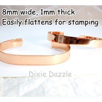 Bracelet stamping blank, 5 bright copper plated brass bracelet blanks for stamping, wire wrapping, bracelet bar, stamping supplies