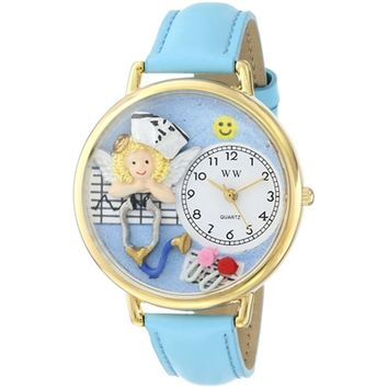 SheilaShrubs.com: Unisex Nurse Angel Baby Blue Leather Watch G-0620030 by Whimsical Watches: Watches