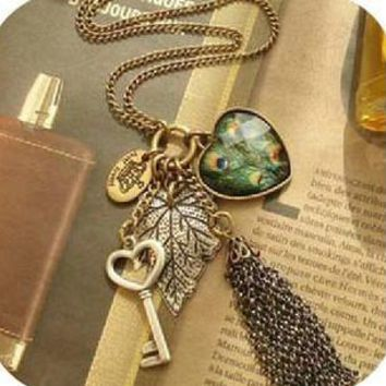 Accessories fashion vintage female long design feather tassel necklace love key Leaves