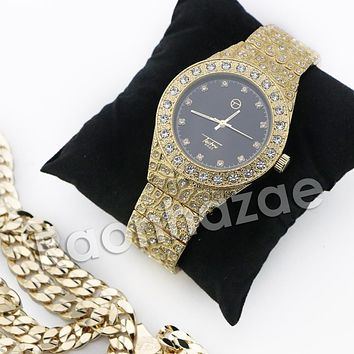 HIP HOP ICED OUT RAONHAZAE GOLD FINISHED LAB DIAMOND WATCH CUBAN CHAIN SET12