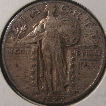 1927 D Silver Quarter Coin, Rare Date Coin, Standing Liberty Silver Coin, Silver Quarter, US Silver 25 Cent, 1927 Coin, Standing Liberty 25c