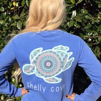 BoHo Shelly™ Mandala Long Sleeve Pocket Tee in Flo Blue