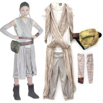 DCCKH6B Children Star Wars Rey princess Cosplay Costume Movie Force Awakens Halloween cosplay costume for kids Party girls dress