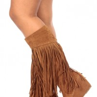 Tan Faux Suede Fringe Calf Length Wedge Boots @ Cicihot Boots Catalog:women's winter boots,leather thigh high boots,black platform knee high boots,over the knee boots,Go Go boots,cowgirl boots,gladiator boots,womens dress boots,skirt boots.
