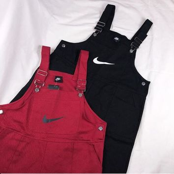 Nike Overalls Romper Women Casual Overalls Jumpsuit   Red