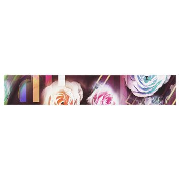"""Dawid Roc """"Roses-Floral Geometric Stripes"""" Pink Blue Table Runner"""