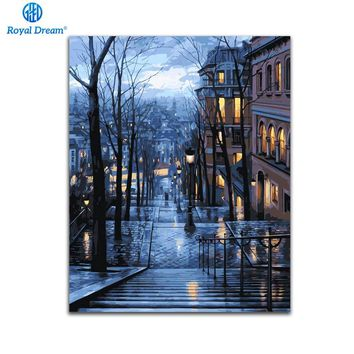 City Night DIY Oil Painting By Numbers Canvas Paint By Number Kits Home Wall Art Picture Coloring By Numbers For Home Decor