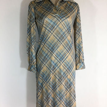 Vintage Dress Brown Dress Plaid Dress Fred Rothschild Dress 1960s Dress Brown Blue Dress Brown Plaid Dress Shift Dress Fall Dress