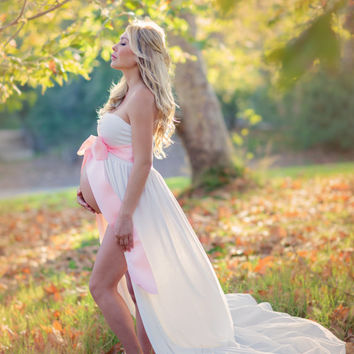 Jersey Maternity Gown Abigail Gown Stretch Knit Split Front Maternity Dress Maternity Gown Maxi Dress Bridesmaid Dress Senior Photo Shoot