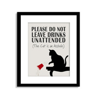 Cat is an ASSHOLE, Cat Sign, Funny Cat Wall Art, Cat Wall Decor, Cat Poster, Cat Quote, Mature Content