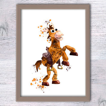 Toy Story watercolor poster Bullseye art print Disney wall decor Toy Story illustration Nursery room decor Kids room wall art Gift idea V306