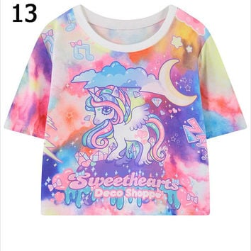 2016 summer style harajuku cartoon unicorn floral letters kawaii graphic print Tee short t shirt women bustier crop tops