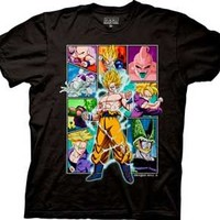 Dragonball Z Character Frame Collage Black Adult T-shirt